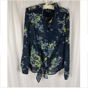 KUT from the Kloth Floral Sheer Tie Bottom Blouse